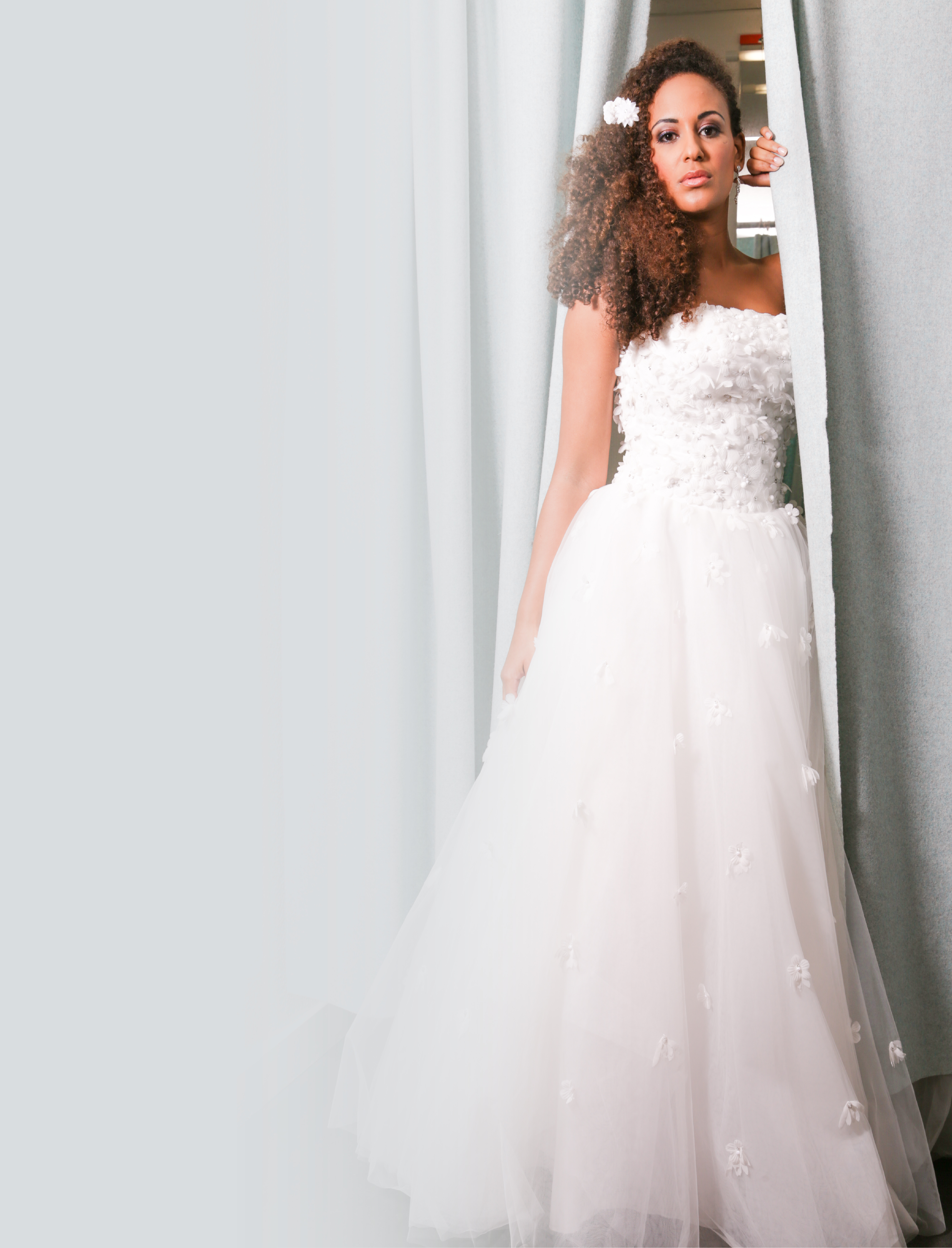 Beautiful long tulle dress wedding dress sold at the london bridal boutique
