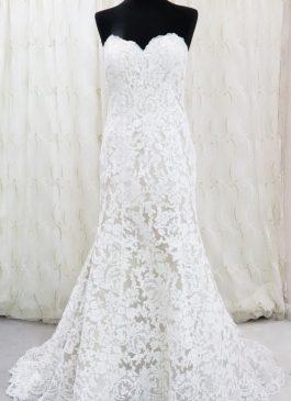 lACE OVERLAY STRAPLESS WEDDING DRESS - champagne colour with contrast lace - romantic wedding dress - The London bridal boutique - Croydon #londonweddingshop
