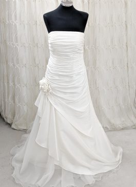 A -line wedding dress with ruching and fabric corsage detail - croydon bridal shop -- designer sample sale